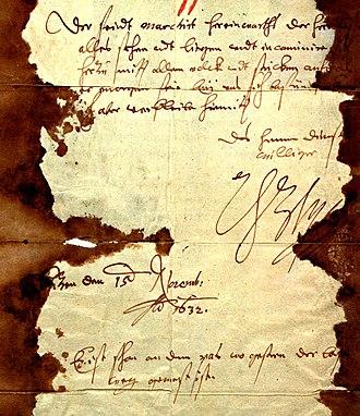 Gottfried Heinrich Graf zu Pappenheim - Letter of Wallenstein, asking for help