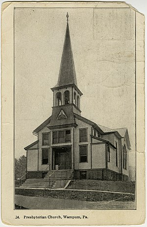 Wampum, Pennsylvania - Wampum Presbyterian Church, at the corner of Main and Clyde Streets, as shown on an old postcard