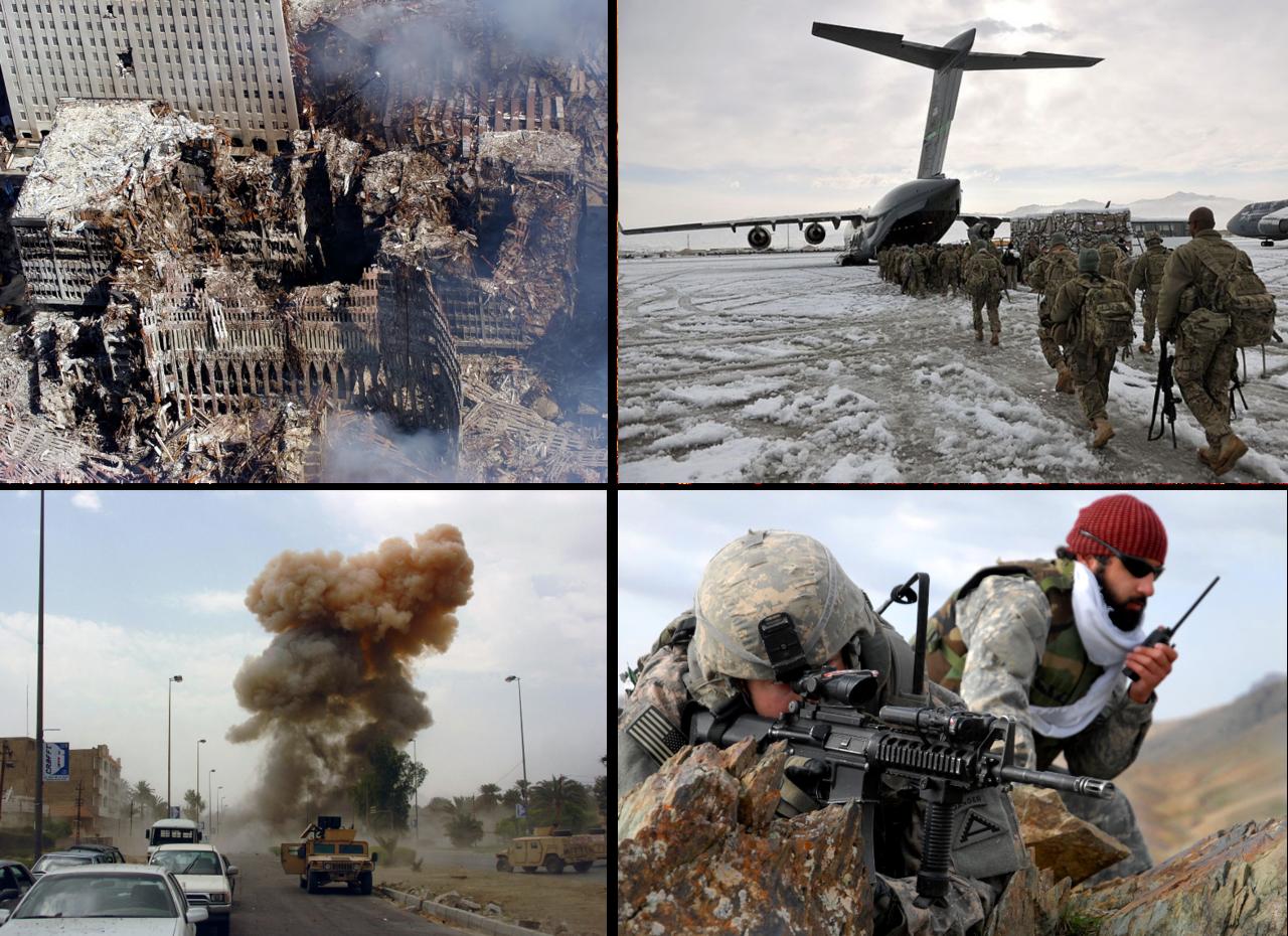 Im Uhrzeigersinn von oben rechts: Die Ruinen des World Trade Centers nach den Anschlägen vom 11. September 2001; US-Soldaten mit einem Chinook in Afghanistan; Eine Bombe explodiert nahe einem US-Konvoi bei Bagdad; US Soldaten im Gefecht in Afghanistan