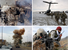 A montage of photographs related to the Global War on Terror. Clockwise from top-left: Aftermath of the September 11 attacks; US 10th Mountain Division soldiers in Afghanistan embarking onto a Chinook helicopter; US soldiers in Zabul province; A car bomb exploding in Iraq