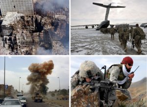Clockwise from top left: Aftermath of the September 11 attacks; American infantry in Afghanistan; an American soldier and Afghan interpreter in Zabul Province, Afghanistan; explosion of an Iraqi car bomb in Baghdad