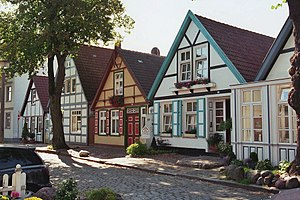 Warnemünde - Typical old fishermen houses in the oldtown of Warnemünde.