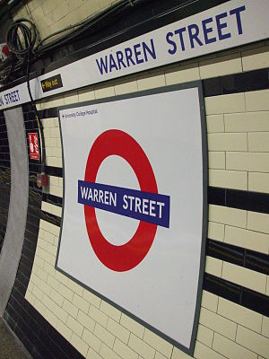 Warren Street tube station - Image: Warren street stn Northern roundel