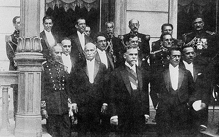 Washington Luis and his cabinet, 1926. Vargas can be seen as the first, from left to right, on the second row. Washington-Luiz-e-Ministerio-1926.jpg