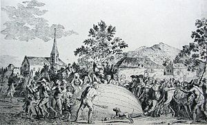 History of ballooning - The balloon built by Jacques Charles and the Robert brothers is attacked by terrified villagers in Gonesse.