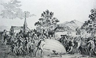 Jacques Charles - The balloon built by Jacques Charles and the Robert brothers is attacked by terrified villagers in Gonesse. Some of them even started attacking him because they weren't used to things flying.