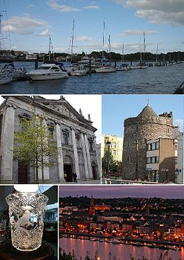 Fan boppe ôf, lofts nei rjochts: haven fan Waterford, Holy Trinity Cathedral, Reginald's Tower, krital fan Waterford, Waterford by nacht.