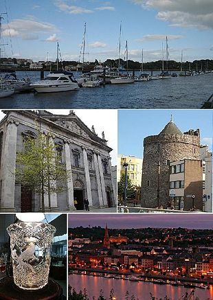 """From top, left to right: Waterford Marina, Holy Trinity Cathedral, <a href=""""http://search.lycos.com/web/?_z=0&q=%22Reginald%27s%20Tower%22"""">Reginald's Tower</a>, a piece of <a href=""""http://search.lycos.com/web/?_z=0&q=%22Waterford%20Crystal%22"""">Waterford Crystal</a>, Waterford City by night."""