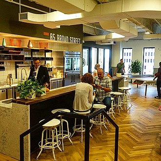 WeWork - The kitchen area at a WeWork space in New York