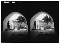 Weli of Budrieh at Sherafat and the preparing of a sacrifice. The courtyard. LOC matpc.01412.jpg