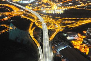Gravelly Hill Interchange - The interchange at night seen from the West Midlands Police helicopter