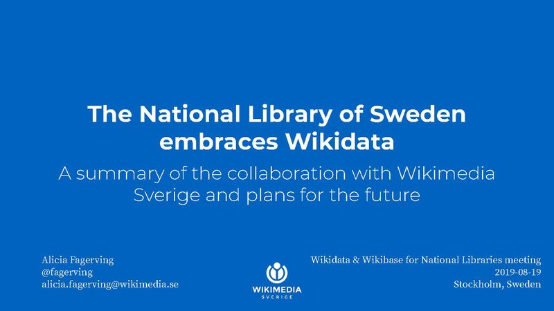 Fil:Wikidata & Wikibase for National Libraries WMSE.pdf
