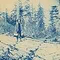 Will Miller standing on corduroy road near Finnegan's Point, Chilkoot Trail, 1898 (AL+CA 7100).jpg