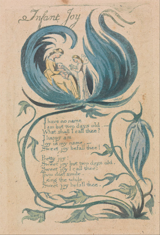 """William Blake - Songs of Innocence and of Experience, Plate 28, """"Infant Joy"""" (Bentley 25) - Google Art Project"""