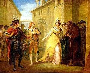 Viola (Twelfth Night) - Viola (in orange, left) as Cesario; Olivia (in yellow, right). William Hamilton c. 1797