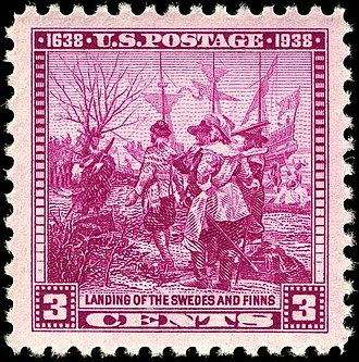 New Sweden - US Postage stamp commemorating the founding of Wilmington, Delaware (1938)
