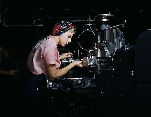Women become skilled shop technicians after careful training in the school at the Douglas Aircraft Company plant, Long Beach, Calif. (1942).
