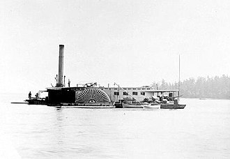R.P. Rithet (sternwheeler) - Wreck of Enterprise after collision with R.P. Rithet, late July 1885