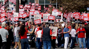 Smallville (season 7) - The Writers Guild form picket lines as the protest their contracts with the Alliance of Motion Picture and Television Producers.