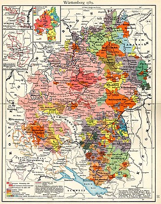 Free imperial city - Württemberg more than doubled its size when it absorbed some 15 Free Cities (in orange) and other territories during the mediatisations of 1803 and 1806.