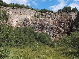 Geology of Germany - Left: Road cut with Devonian slates near Züschen in the Rothaar Mountains (Rhenish Massif). Right: Quarry in the Brocken granite pluton on Wurmberg in the Upper Harz Mountains, parts of which are of early Permian (Asselian) age, one of the youngest rock bodies of the Variscan basement.