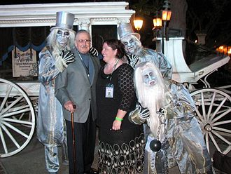 Xavier Atencio - X Atencio at Disneyland's Haunted Mansion in 2008 with Carrie Vines of the Haunted Mansion Collectibles blog.