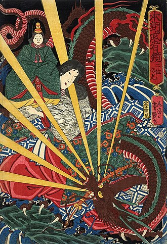 Japanese dragon - Emperor Antoku's grandmother rescuing him from a dragon, by Yoshitsuya Ichieisai.