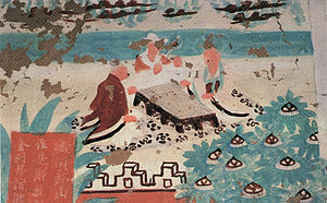 Dunhuang Go Manual - Mural illustrating the Vimalakirti Sutra dating to the Five Dynasties period (907–979) from Cave 32 at the Yulin Caves in Gansu, showing a game of Go being played.  There is a similar mural at Dunhuang Cave 454.