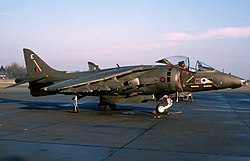 A No. 4 Squadron BAe Harrier at RAF Gütersloh during 1987.
