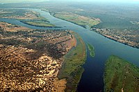 Zambezi River at junction of Namibia, Zambia, Zimbabwe & Botswana.jpg