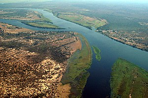 Close-up aerial photo of Zambezi River at the ...