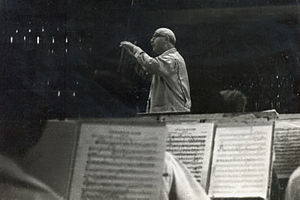 Italian conductor Carlo Zecchi at the rehearsa...