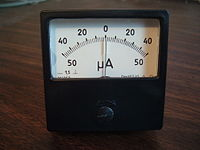 200px Zero Center_Ammeter ammeter wikipedia DC Amp Meter Wiring Diagram at love-stories.co
