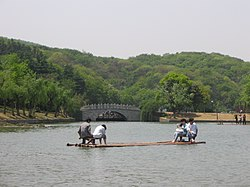 Bamboo raft in Nanjing Pearl Spring Tourist & Holiday Resort, in Pukou District