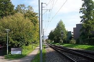 Uetliberg railway line - View down the line towards Zürich from Triemli, showing gradient