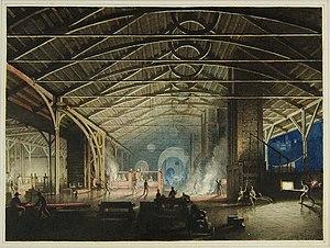 Cyfarthfa Ironworks - Cyfarthfa Ironworks Interior at Night, by Penry Williams, (1825)