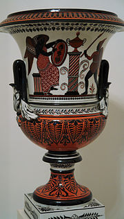 "Porcelain vase of ""Medici Vase"" profile, decorated in ""Pompeian"" black and red, St Petersburg, ca 1830"