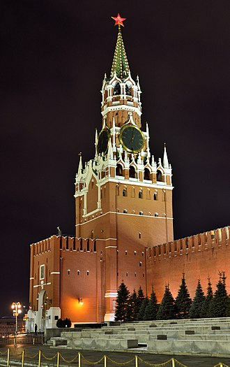 Spasskaya Tower - Spasskaya tower at night, December 2015