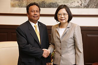 Foreign relations of Palau - President Tommy Remengesau with ROC President Tsai Ing-wen in Taiwan.
