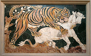 Basilica of Junius Bassus - Opus sectile panel: tiger attacking a calf, Roman artwork from the second quarter of the 4th century CE