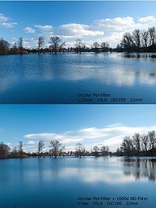 Comparison of two pictures showing the result of using an ND filter at a landscape. The first one uses only a polarizer, and the second one a polarizer and ...