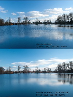 Neutral-density filter - Comparison of two pictures showing the result of using an ND filter at a landscape. The first one uses only a polarizer, and the second one a polarizer and a 1000× ND filter (ND3.0), which allowed the second shot to have a much longer exposure, smoothing any motion.