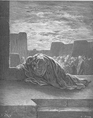 English: Ezra Kneels in Prayer (Ezr. 9:1-15) Р...