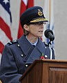 111111-F-FW394-055 Air Commodore Elaine West, Air Officer Assistant Chief of Staff and Air Officer Commanding Directly Administered Units, Headquarters Air Command speaks during a ceremony.jpg