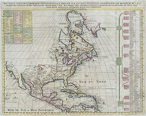 Acadia - French map of 1720 North America. Acadie extends clearly into present-day New Brunswick.