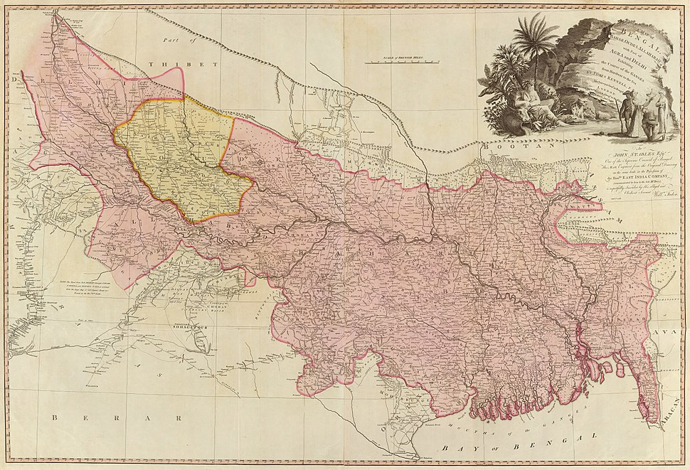 1786 - A map of Bengal, Bahar, Oude & Allahabad - James Rennell - William Faden