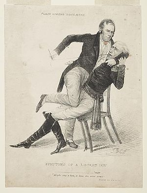 "Weekly Register - Symptoms of a locked jaw. Plain sewing done here cartoon by David Claypoole Johnston in Niles Weekly Register on January 5 and 12, 1828, regarding the ""Corrupt Bargain"" accusations made by presidential candidate Andrew Jackson against Secretary of State Henry Clay in 1824."