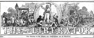 The Liberator (newspaper) - 1850 Liberator masthead, designed by Hammatt Billings