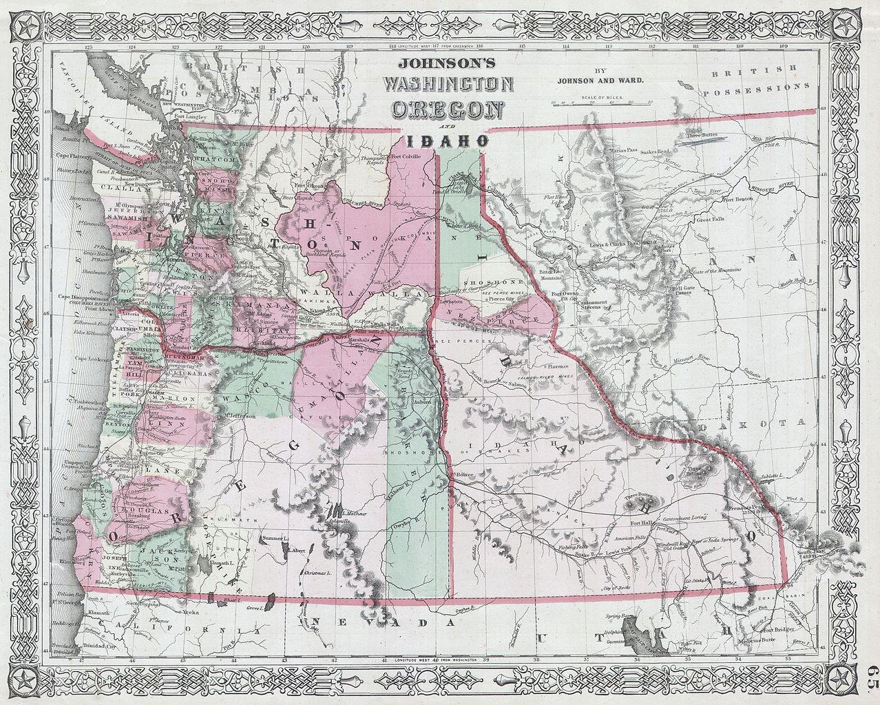 File1864 Johnson Map Of Washington Oregon And Idaho