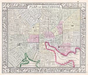 History of Baltimore - An 1864 map of Baltimore